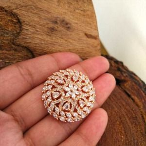 AD Stone Studded Rose Gold Adjustable Ring