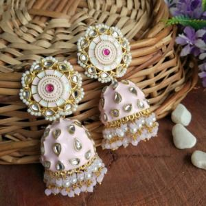 Baby Pink Jhumka Earrings for Lehenga Choli