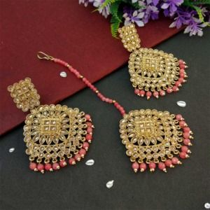 Coral Pink Pearl Polki Maang Tikka Set with Earring for Wedding