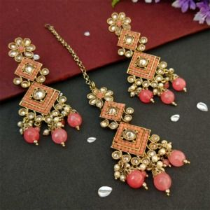 Coral Pink Polki Necklace Set with Tikka for Marriage