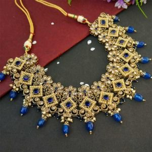 Dark Blue Polki Necklace Set with Tikka for Marriage