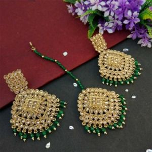 Dark Green Pearl Polki Maang Tikka Set with Earring for Wedding