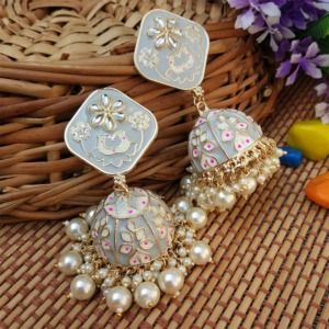 Grey Heavy Jhumka Earring for Women