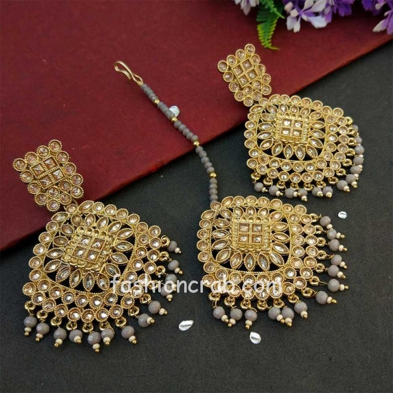 Grey Pearl Polki Maang Tikka Set with Earring for Wedding