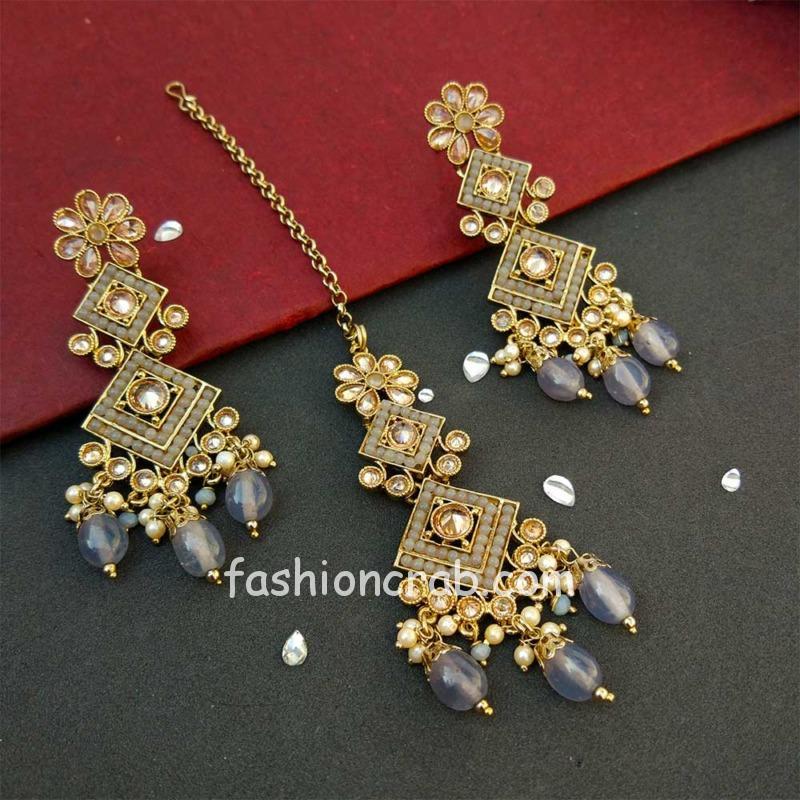 Grey Polki Necklace Set with Tikka for Marriage