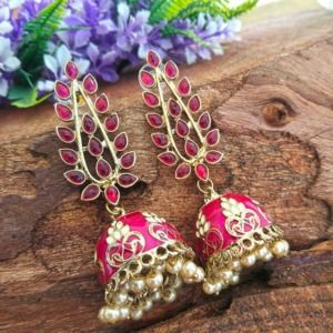 Handcrafted Pink Stone Jhumkas for Women