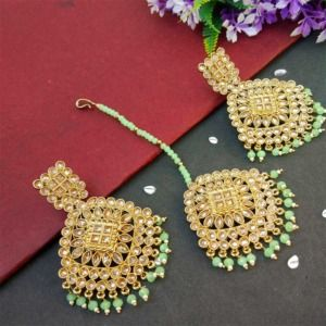 Light Green Pearl Polki Maang Tikka Set with Earring for Wedding