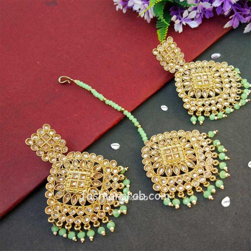 Light Green Pearl Polki Maang Tikka Set with Earring for Wedding