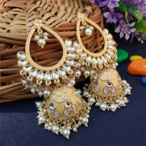 Light Orange Traditional Heavy Jhumka Earring