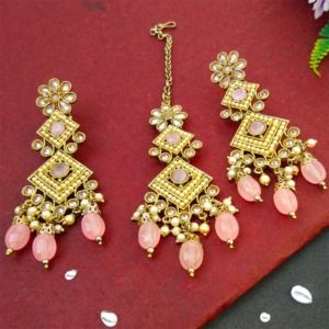 Light Pink Polki Necklace Set with Tikka for Marriage
