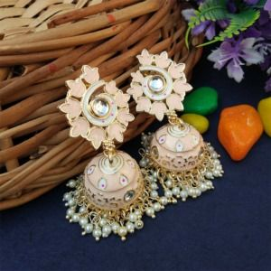 Light Pink Statement Enamel Jhumka