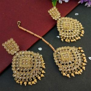 Peach Pearl Polki Maang Tikka Set with Earring for Wedding