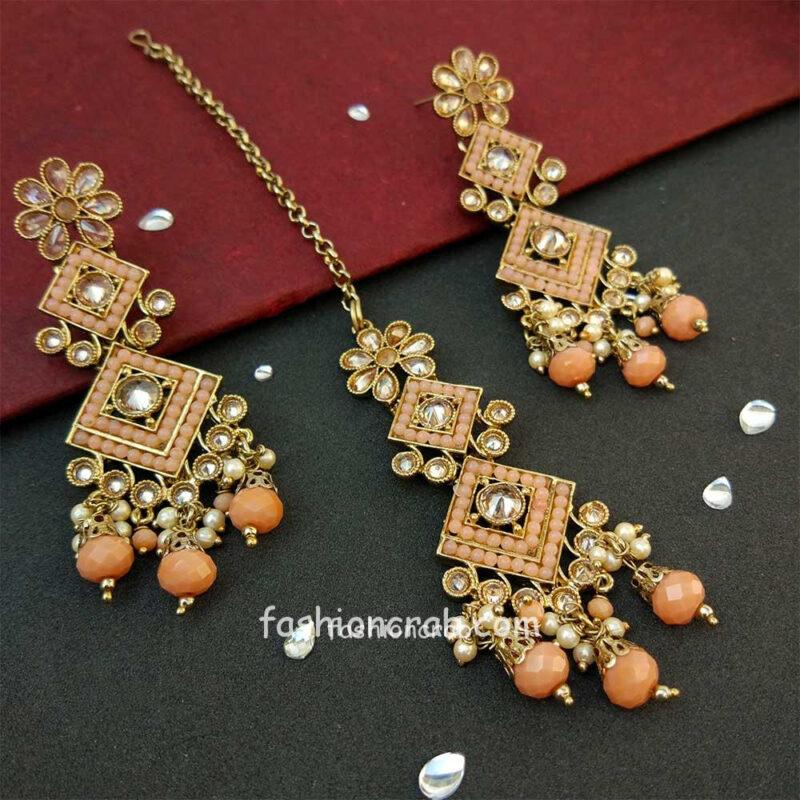 Peach Polki Necklace Set with Tikka for Marriage