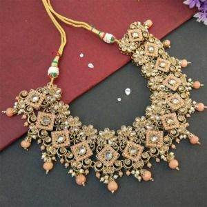Peach Polki Necklace Set with Tikka for Marriage
