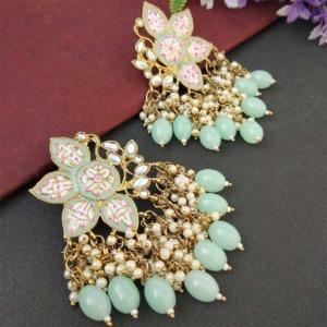 Pista Green Enamel Pearl Embellished Chandbali Earring