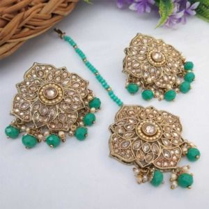 Sea Green Colour Stud Earrings with Maang Tikka for Party