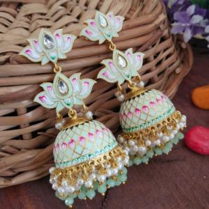 Sea Green Meenakari Lotus Jhumka Earring for Wedding