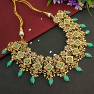Sea Green Polki Necklace Set with Tikka for Marriage