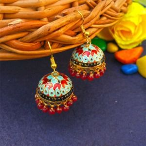 Blue Red Pearl Small Jhumka for Girls