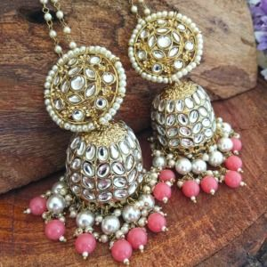Bollywood Indian Ethnic Kundan Pink Pearl Jhumka