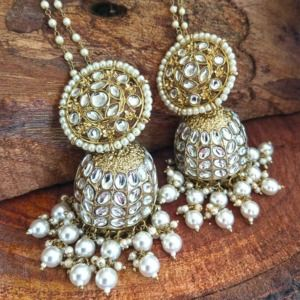Bollywood Indian Ethnic Kundan White Pearl Jhumka
