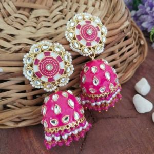 Dark Pink Jhumka Earrings for Lehenga Choli
