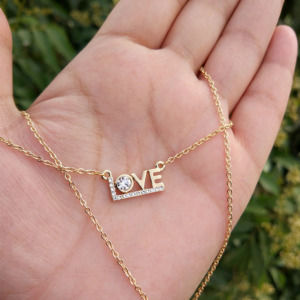 Golden Colour Love Pendant Chain for Girlfriend