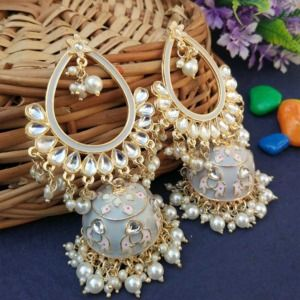 Grey Traditional Heavy Jhumka Earring