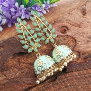 Handcrafted Green Stone Jhumkas for Women