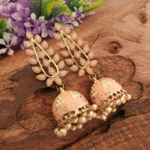 Handcrafted Peach Stone Jhumkas for Women