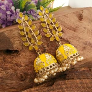 Handcrafted Yellow Stone Jhumkas for Women