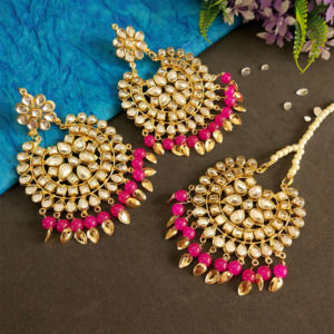 Hot Pink Color Punjabi Earrings with Tikka