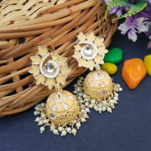 Light Peach Statement Enamel Jhumka