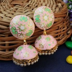 Light Pink Jhumka with Meena Work