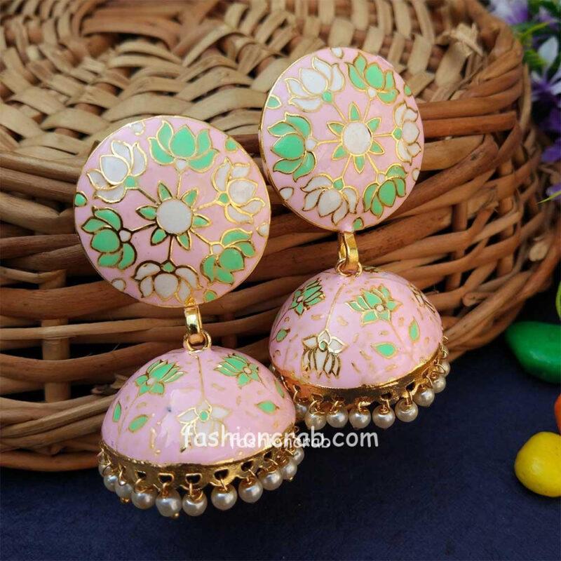 Light Pink Jhumka with Meena Work