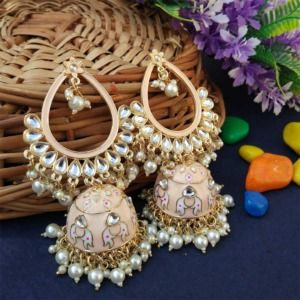 Light Pink Traditional Heavy Jhumka Earring