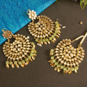 Lime Green Color Punjabi Earrings with Tikka