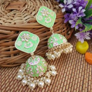Mint Green Heavy Jhumka Earring for Women