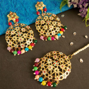 Multicolour Jadau Earrings with MaangTikka