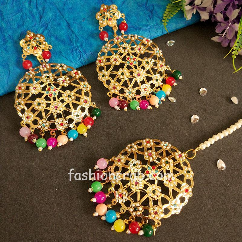 Multicolour Jadau Earrings with MaangTikka