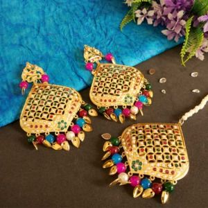 Multicolour Jadau Earrings with Tikka