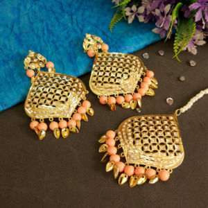Peach Color Jadau Earrings with Tikka