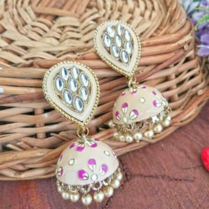 Peach Colored Meenakari Jhumka Earring