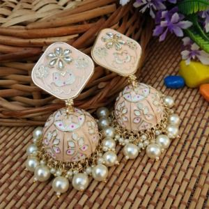 Peach Heavy Jhumka Earring for Women