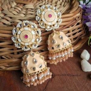 Peach Jhumka Earrings for Lehenga Choli