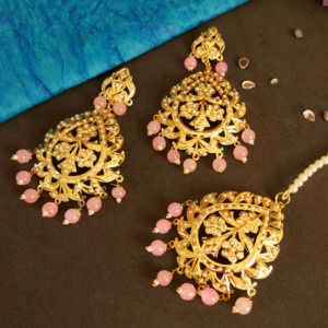 Pink Pearl Jadau Earrings with Tikka