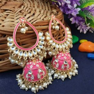 Pink Traditional Heavy Jhumka Earring