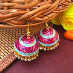 Purple Blue Pearl Meenakari Jhumki Earring
