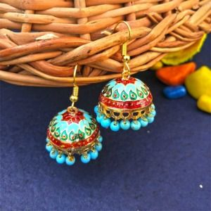 Red Blue Pearl Small Jhumka for Girls