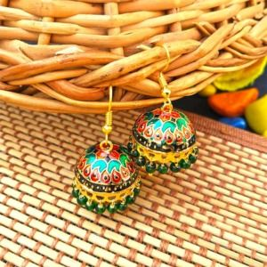 Red Green Pearl Small Jhumka for Girls
